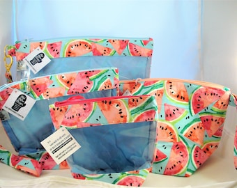 Knitting Project Bag, Zippered Project Bag, Knitting Wedge Bag, Yarn Tote Bag, Yarn Bag, Knitting bag, Watermelon
