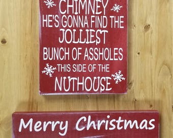 Christmas Vacation Signs-Funny Holiday Sign-Movie Lovers Gift-Shitters Full-Jolliest Bunch of Assholes