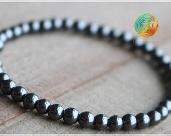 Hematite Bracelet,4mm Genuine Hematite bracelet, Hematite Jewelry,Hematite Silver Bracelet,Beaded Gemstone Stretch Bracelet, PROTECTION