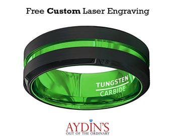 Mens Wedding Band - Tungsten Ring - Black and Green Tungsten - Acid Green - Beveled Edge - Tungsten Wedding Band