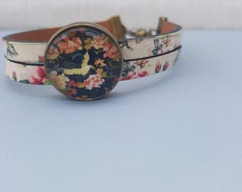 Pink - Bronze flower Cabochon bracelet