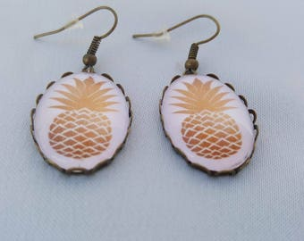 Bronze - gold pineapple earrings