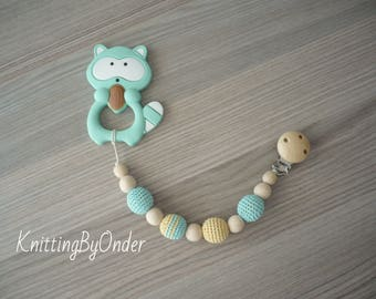 Mint wooden holder with silicone toy Silicone pacifier clip Baby stroller toy Silicone teether chew toy Beaded pacifier clip Baby boy shower