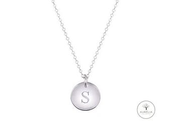 925 Silver wish engraved initials necklace