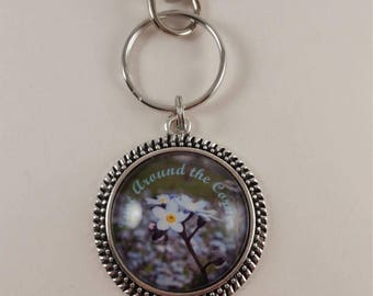 "JW key chain ""Just Around The Corner"" with forget-me-not flowers. JW.org, JW gifts, Jw items, baptism gift"