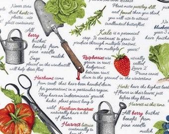 Garden Fabric: Robert Kaufman Everyday Favorites Gardening Tools, Fruit , and Vegetables 100% cotton Fabric  (RK18)