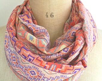 pink infinity scarf, boho loop scarf, boho infinity scarf, pink scarf, gift women, pink circle scarf, pink cowl, bohemian tube scarf