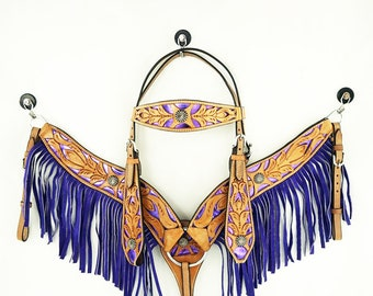 Handmade Western Barrel Trail Horse Headstall Metallic Purple Light Oil Bridle Fringe Breast Collar Tack Set Made To Order