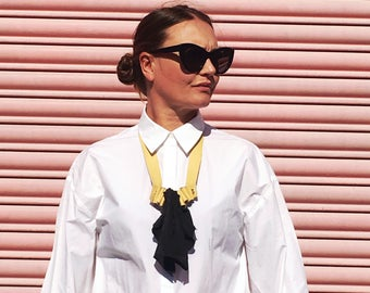 Charcoal and Yellow Ruffle Necklace, Leather Jabot Necklace