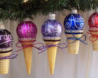 Personalized Ice Cream Cone Ornament. Custom Ornament. Ice Cream Gift.