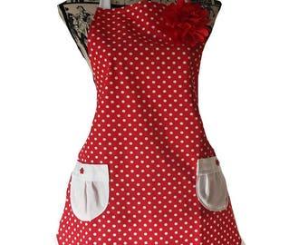 "Apron retro woman ""dots"" vintage Red"