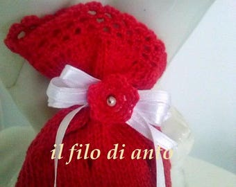 red wedding favor bag