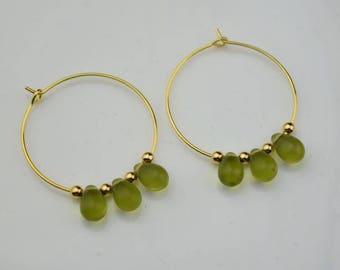 gold peridot hoop earring drop hoops teardrop droplet huggie earrings simple earrings everyday/gift for her
