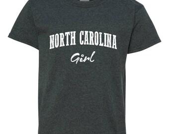 Free Shipping! Blue Tees NC North Carolina Flag Charlotte Map 49ers Home of University of NC UNC Girl Unisex Youth Kids T-Shirt Tee Clothing