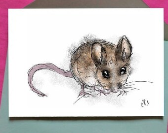 Mouse card // mouse greetings card // mouse birthday card // field mouse card // british wildlife card // british wildlife art // mouse art