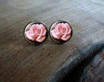 Boucles d'oreilles puces cabochon puce les petites roses Boucles d'oreilles rétro vintage, Boucles d'oreilles cabochon romantique