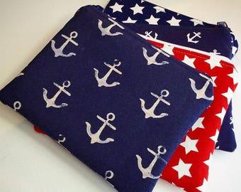 Zipper Bag, Cosmetic Bag, Coin Purse, Small Zipper Pouch, Credit Card Bag, Makeup Bag, Fourth of July, Travel Pouch, Navy Star, Zipper Pouch