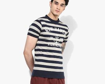 Mens Stripe T-shirt Printed T Shirt Organic Cotton Stripe T-Shirt Made in USA Vegan Fashion