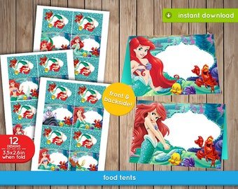 Ariel Little Mermaid Food Label Tents - Ariel, The Little Mermaid food, labels, Tents, tags, decoration, favors - INSTANT DOWNLOAD