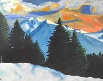 "Original Oil Painting ""Winter Sunset"""