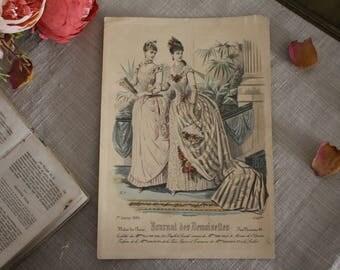 Antique French Fashion Print - Journal des Demoiselles - #4553bis - 19th Century
