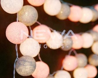 35 Pastel Pink Gray White Cotton Ball Fairy Lights String Lights Christmas Lights Garland Lights Gifts Bedroom Nursery Baby Kids Room Decor