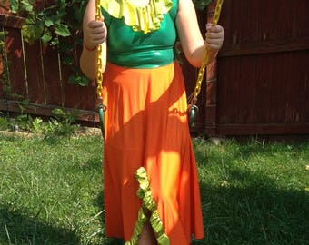 Pumpkin Spice!  Colorful dress-up dress/Halloween costume, fits kids up to size 12 (gently used)