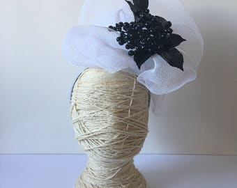 Black and White Statement headpiece / fascinator with floral and fabric finishes on a satin headband / Melbourne Cup Derby Day