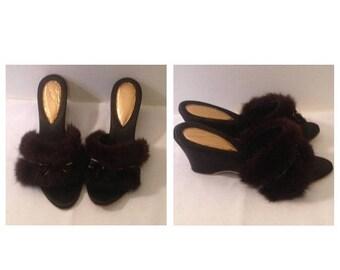Anniversary Sale Vintage Black Wedges With Fur Trim
