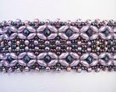 Basketweave Bracelet Pattern using SuperDuos, Seed Beads and 3mm Fire Polish - PDF Tutorial Beading