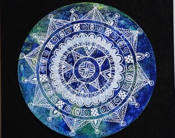 White mandala - felt Posca and watercolor