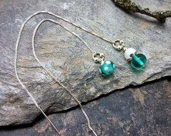 Earrings turquoise yarn