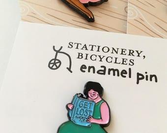 GET LOST (in a book) enamel pin / feminist nerd pin / feminist librarian