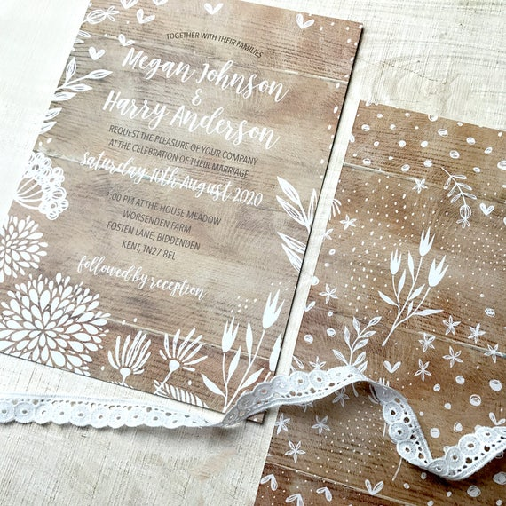 Boho wedding invite set, Rustic wedding invitation, Boho rustic wedding invitations,  Forest wedding invite, Country wedding invitation A5