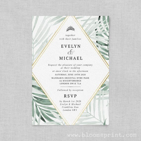 Greenery wedding invitation digital, Tropical wedding invitation template, Watercolor wedding invitation printable, Invites, PDF, Modern, A5