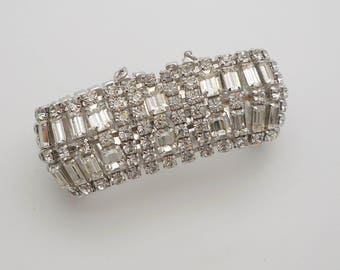 Vintage Wide Clear Baguette and Round Rhinestone Bracelet