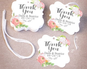100 THANK YOU Wedding Tags   Personalized Wedding Favor Tags   Floral Peony