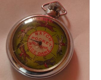 Vintage Horse Race Pocket Watch Game