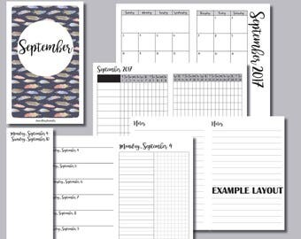 PERSONAL Size: MONDAY Start - September 2017 Month/Weekly/Daily UNTIMED Travelers Notebook Insert