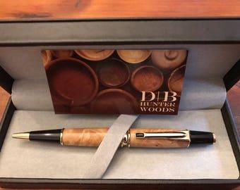 Turned Wooden Buckeye Burl Cross-Style Twist Pen wih Swarovski crystal on clip