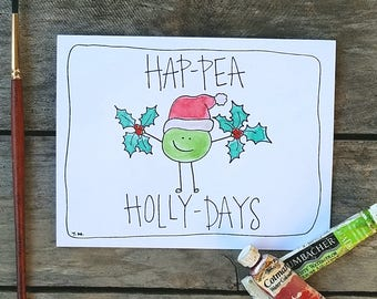 Hap-Pea Holly-Days Pun Greeting Card