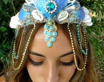 "Mermaid seashell crown "" Bahama Breeze "" siren mermaid crown"