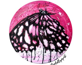 Butterfly art print, butterfly gift, vinyl record art, butterfly painting, butterfly wall art, butterfly decor, bedroom wall art, quirky art
