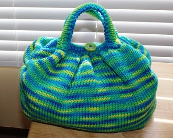 Handcrafted Knitted Handbag. Green, Blue and Yellow Variegated Colors
