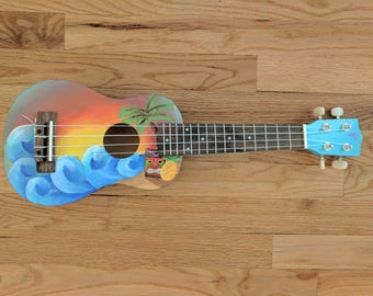 Hand painted Tiki themed Soprano Ukulele