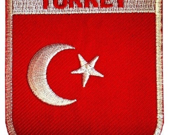 Patch / patch - Turkey flag flag - red - 6.4 x 7.3 cm - patch application applications to the iron application patches patch