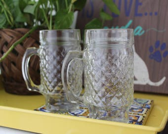 Vintage Clear Beer Mugs Set of 2