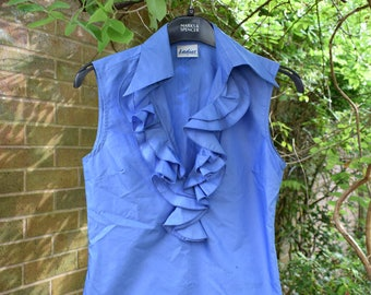 Blue Ladies blouse from Ladies Size Small uk 10 Pointed Collar Ruffle Frill 1970s