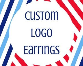 Custom Logo Earrings- Custom Earrings- Military Spouse Gift- Small Business