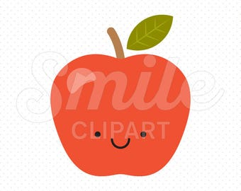 HAPPY RED APPLE Clipart Illustration for Commercial Use | 0001